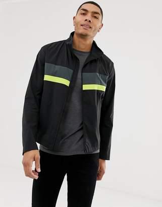 HUGO Bill1921 colour block zip thru jacket in black