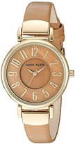 Anne Klein Women's Quartz Metal and Leather Dress Watch, Color:Brown (Model: AK/2156TMDT)