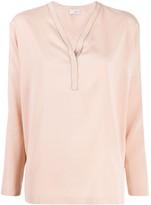 Brunello Cucinelli V-neck long sleeve blouse