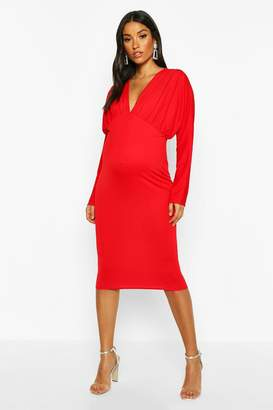 boohoo Maternity Batwing Pleated Midi Bodycon Dress
