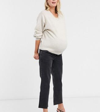 ASOS DESIGN Maternity high rise stretch 'effortless' crop kick flare jeans in black