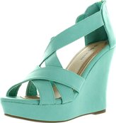 Top Moda Ella-18 Womens Strappy Open Toe Platform Wedge Sandals