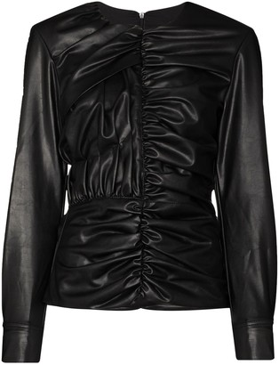 Markoo Black Ruched Faux Leather Top