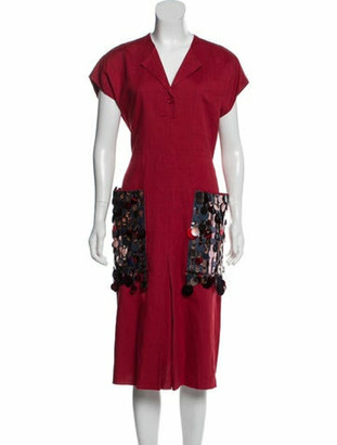 Bottega Veneta 2018 Sequin-Accented Midi Dress w/ Tags red