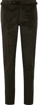 Dark-Brown Slim-Fit Tapered Cotton-Blend Corduroy Suit Trousers