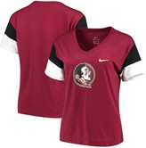 Nike Women's Garnet/Black Florida State Seminoles Breathe Team Sleeve Performance V-Neck T-Shirt