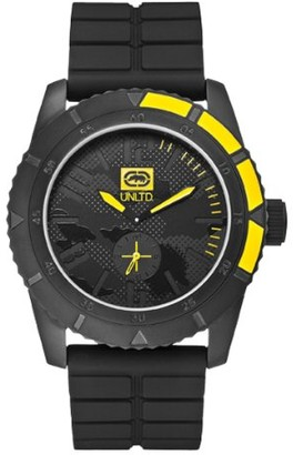 Ecko Unlimited Unisex Quartz Watch with Black Dial Analogue Display and Black Silicone Strap E13541G1
