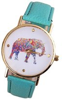 Wkae Women's Casual Fashion Quartz Watch PU Strap Watch Fashion Personality Fashion Elephant Pattern ( Color : )