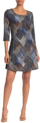 Papillon Geo Print 3/4 Sleeve Shift Dress
