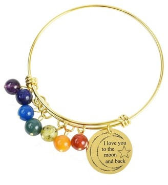 Genuine Chakra Inspirational Bangles by Pink Box I love you to the moon and back Gold