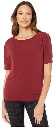 MICHAEL Michael Kors Dolman Sleeve Grommet Top (Dark Brandy) Women's Clothing