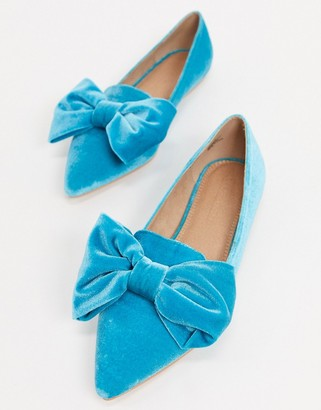 Asos DESIGN Lake bow pointed ballet flats in blue