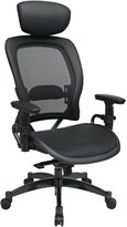 SPACE Seating 27876 Breathable Back Seat, 2-to-1 Synchro Tilt Control, Adjustable Arms & Lumbar Support, Gunmetal Finish Base Managers Chair with Headrest