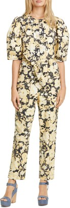 Rebecca Taylor Gold Leaf Puff Sleeve Utility Jumpsuit