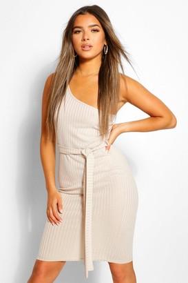 boohoo Petite One Shoulder Belted Rib Midi Dress
