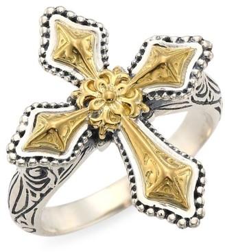Konstantino Kleos 18K Yellow Gold Engraved Cross Ring