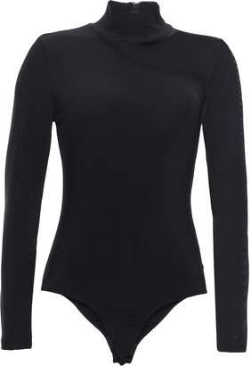 DKNY Asymmetric Mesh-paneled Stretch-jersey Turtleneck Bodysuit