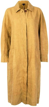 Garment Washed Linen Coat - Biscuit