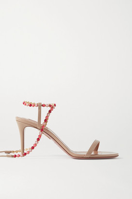 Aquazzura Livia 75 Beaded Leather Sandals - Beige