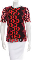 Derek Lam Embroidered Short Sleeve Blouse