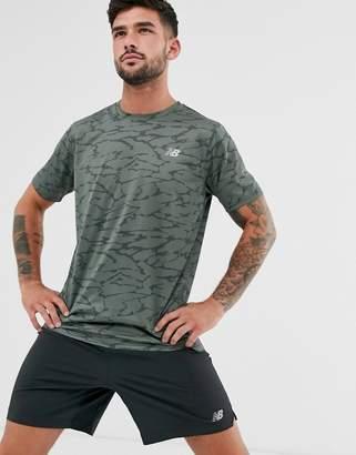 New Balance Running accelerate camo print t-shirt in khaki-Green