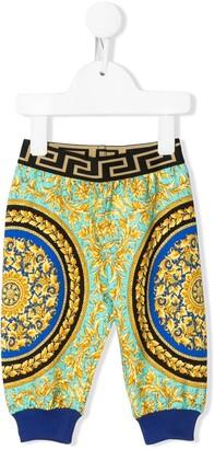 Versace Colour Block Logo Print Track Pants
