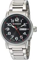 Wenger Men's 'Attitude Day/Date' Swiss Quartz Stainless Steel Casual Watch, Color:Silver-Toned