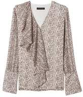 Banana Republic Floral Long-Sleeve Cascade Ruffle Top