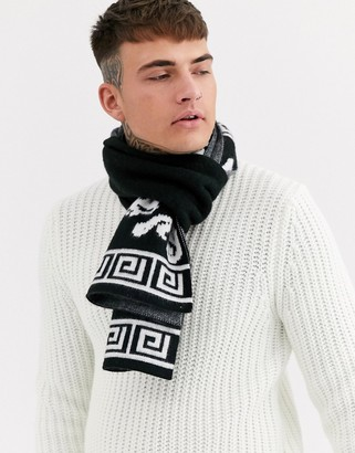 ASOS DESIGN scarf in black with brushed white print
