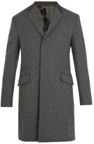 PRADA Contrast-collar single-breasted wool coat