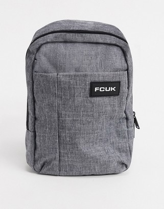 French Connection melton flight bag in gray mel