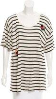Sonia Rykiel Striped Floral-Adorned Top