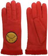 Agnelle Red Suede Smiley Face Gloves
