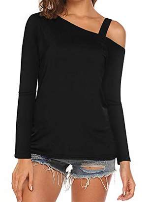Cyanstyle Women's Long Sleeve Cold Shoulder Casual Tshirt Blouse Sexy Tunic Top Black M