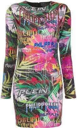 Philipp Plein crystal embellished jungle dress