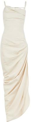 Jacquemus La Robe Saudade stone cotton-blend maxi dress