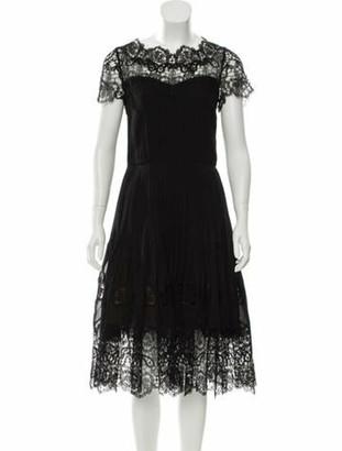Oscar de la Renta Silk Lace-Accented Dress Black