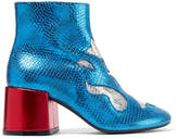 MM6 MAISON MARGIELA Metallic Snake-effect Leather Ankle Boots - Blue