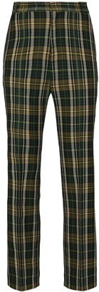 Plan C Tartan-Check Flares Trousers