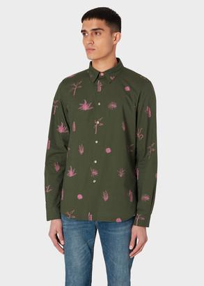 Paul Smith Men's Tailored-Fit Green 'Air Plants' Print Cotton Shirt
