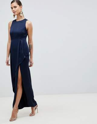 Asos Design DESIGN Satin Maxi Dress With Asymmetric Layered Skirt-Navy