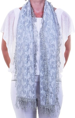 Fashion Scarves Ladies Butterfly Lace Scarf Shawl Sarong Pashmina with Delicate Heart Fringe in Silver with a Subtle Sheen to the Fabric