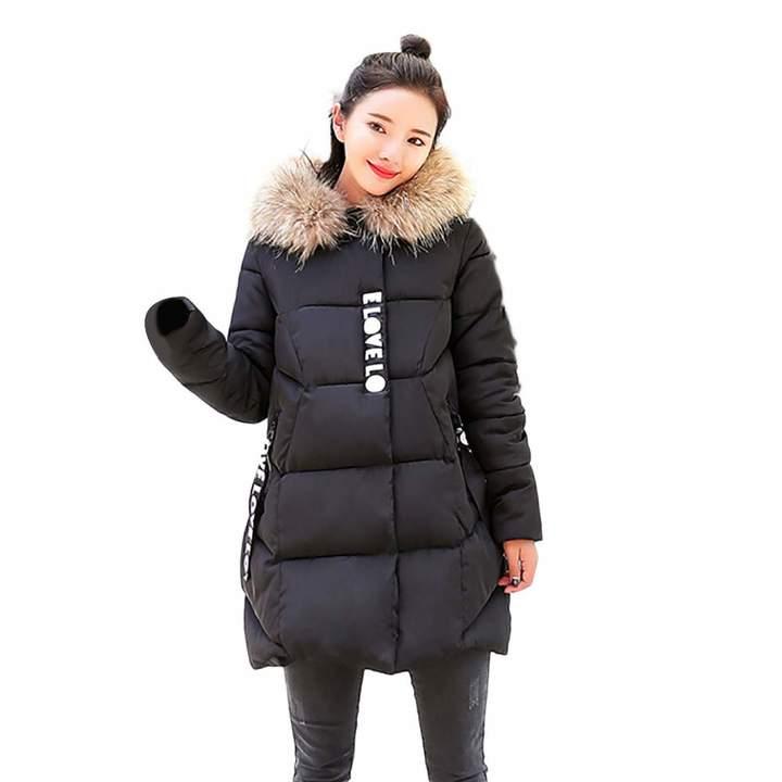 f2ad75171 PENATE Women's Down Jackets PENATE Women Winter Warm Down Jacket Slim Solid  Plush Hodded Cotton Coat Parka