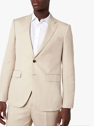 Jaeger Regular Fit Linen and Silk Suit Jacket, Beige