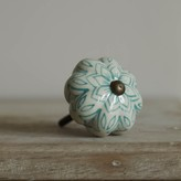 Graham and Green Turquoise Painted Flower Knob