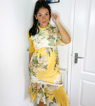 Hope & Ivy Maternity midaxi dress with ruffle hem in yellow based floral print