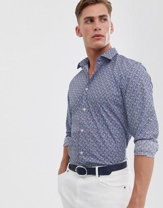 Selected reg fit floral shirt-Blue