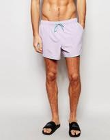 Asos Runner Swim Shorts In Purple With Contrast Binding In Short Length