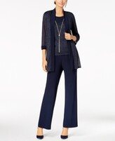 Thumbnail for your product : R & M Richards Metallic Pantsuit, Shell & Necklace Set
