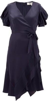 Diane von Furstenberg Ansley Waist-tie Satin Wrap Dress - Navy